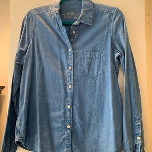 Blue Jean long sleeve shirt semi acid washed